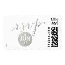 Faux Silver Glamor | Custom Date RSVP Postage