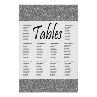 Faux Silver Glitter 10 Table Seating Chart Poster