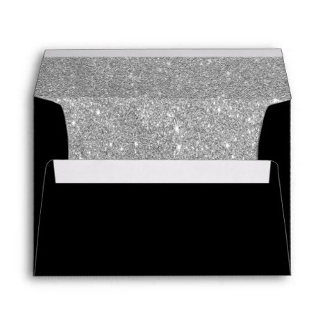 Faux Silver Glitter and Black Envelope