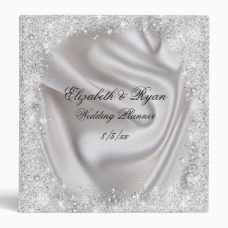 Faux, Silver Glitter and Satin, Custom Wedding Binder