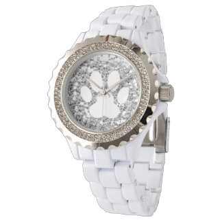 faux silver glitter and white pet paw print wrist watch
