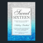 "Faux silver glitter blue teal Sweet 16 Invitation<br><div class=""desc"">A modern,  pretty chic and elegant faux silver glitter shower ombre with teal ocean blue glitter ombre color block Sweet 16 birthday party invitation.</div>"