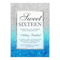 Faux silver glitter blue teal Sweet 16 Invitation