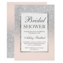 Faux silver glitter blush elegant Bridal shower Card