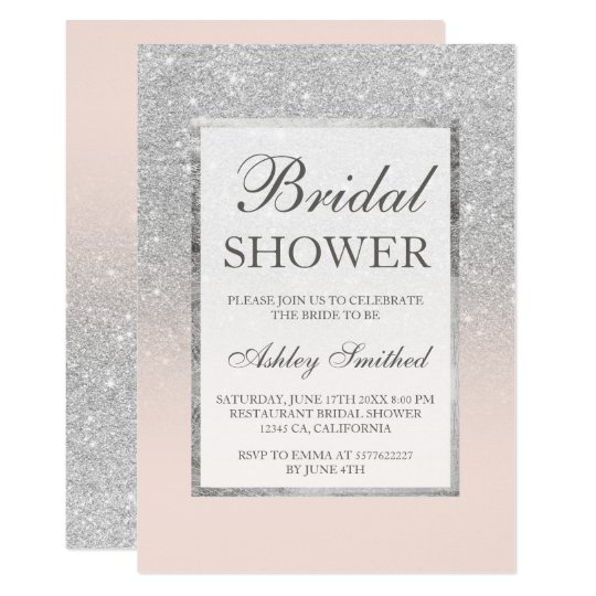 Faux silver glitter blush elegant bridal shower invitation zazzle faux silver glitter blush elegant bridal shower invitation filmwisefo