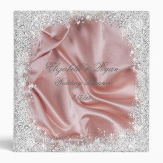 Faux, Silver Glitter, Blush Satin, Custom Wedding 3 Ring Binder