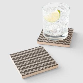 Faux Silver Glitter Chevron Pattern Black Glitter Stone Coaster