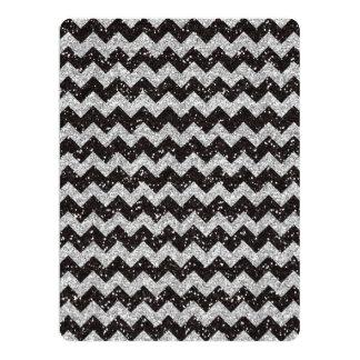 Faux Silver Glitter Chevron Pattern Black Glitter 6.5x8.75 Paper Invitation Card