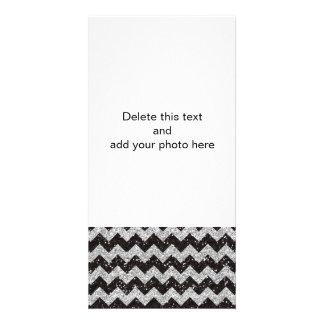 Faux Silver Glitter Chevron Pattern Black Glitter Photo Greeting Card