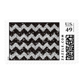 Faux Silver Glitter Chevron Pattern Black Glitter Postage Stamp