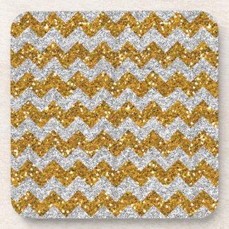 Faux Silver Glitter Chevron Pattern Gold Glitter Drink Coaster