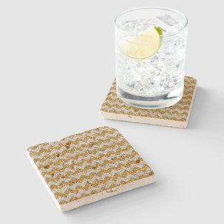 Faux Silver Glitter Chevron Pattern Gold Glitter Stone Beverage Coaster