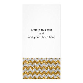 Faux Silver Glitter Chevron Pattern Gold Glitter Personalized Photo Card