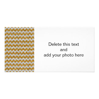 Faux Silver Glitter Chevron Pattern Gold Glitter Photo Greeting Card