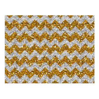 Faux Silver Glitter Chevron Pattern Gold Glitter Postcard