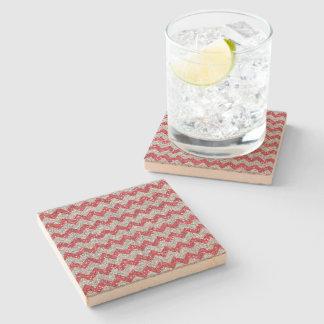 Faux Silver Glitter Chevron Pattern Pink Glitter Stone Beverage Coaster