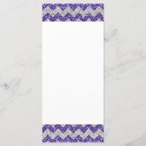 Faux Silver Glitter Chevron Pattern Purple Glitter