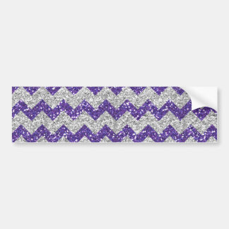 Faux Silver Glitter Chevron Pattern Purple Glitter Bumper Sticker