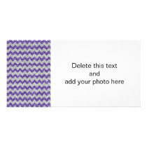 Faux Silver Glitter Chevron Pattern Purple Glitter Card