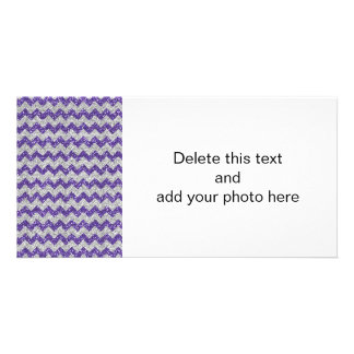 Faux Silver Glitter Chevron Pattern Purple Glitter Card