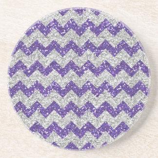 Faux Silver Glitter Chevron Pattern Purple Glitter Beverage Coaster
