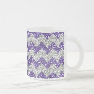 Faux Silver Glitter Chevron Pattern Purple Glitter Frosted Glass Coffee Mug