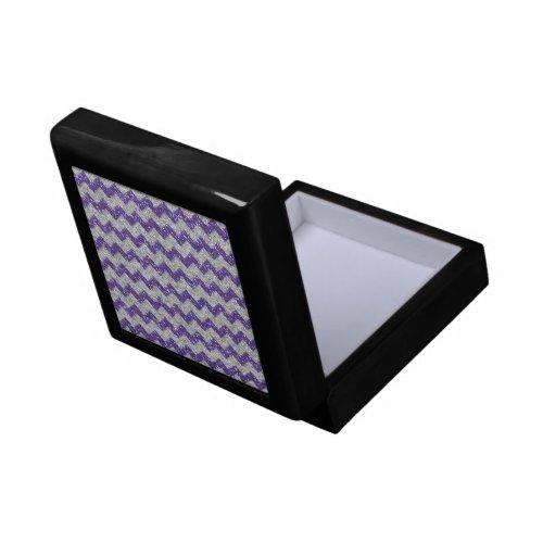 Faux Silver Glitter Chevron Pattern Purple Glitter Jewelry Box
