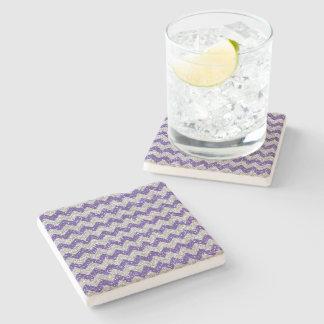 Faux Silver Glitter Chevron Pattern Purple Glitter Stone Coaster
