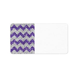 Faux Silver Glitter Chevron Pattern Purple Glitter Label