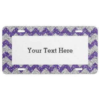 Faux Silver Glitter Chevron Pattern Purple Glitter License Plate