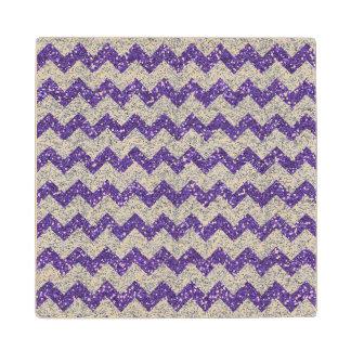 Faux Silver Glitter Chevron Pattern Purple Glitter Wood Coaster