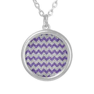 Faux Silver Glitter Chevron Pattern Purple Glitter Pendant