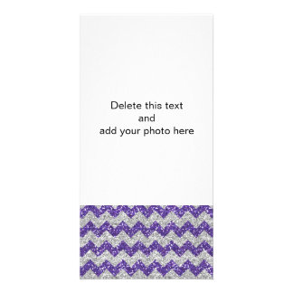 Faux Silver Glitter Chevron Pattern Purple Glitter Customized Photo Card