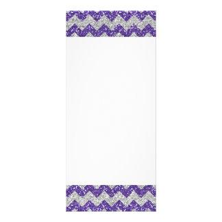 Faux Silver Glitter Chevron Pattern Purple Glitter Rack Card