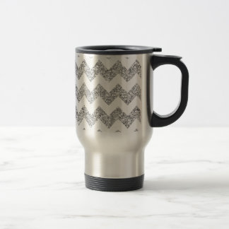 Faux Silver Glitter Chevron Pattern Purple Glitter Travel Mug