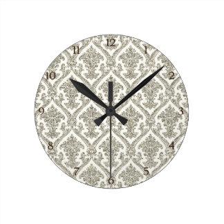 Faux Silver Glitter Damask Floral Pattern Kitchen Round Clock