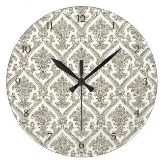 Faux Silver Glitter Damask Floral Pattern Kitchen Clock