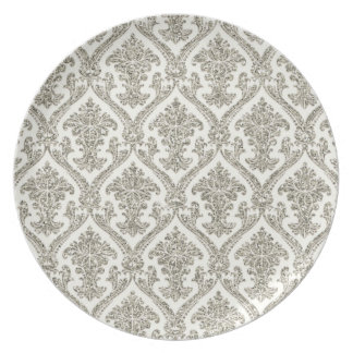 Faux Silver Glitter Damask Floral Pattern Kitchen Melamine Plate