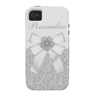 Faux Silver Glitter & Diamond Flower Personalized Case-Mate iPhone 4 Cover