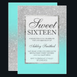 """Faux silver glitter elegant teal Sweet 16 Card<br><div class=""""desc"""">A modern, pretty chic and elegant faux silver glitter shower ombre with teal ocean color block Sweet 16 birthday party invitation with silver ombre pattern fading onto a teal ocean background with and elegant silver frame Perfect for a princess Sweet sixteen, perfect for her, the fashionista who loves modern pattern...</div>"""