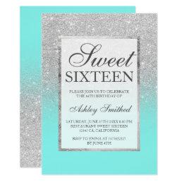 Faux silver glitter elegant teal Sweet 16 Card