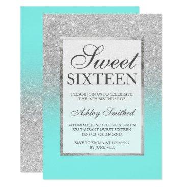 girly_trend Faux silver glitter elegant teal Sweet 16 Card