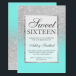 """Faux silver glitter elegant teal Sweet 16 Invitation<br><div class=""""desc"""">A modern, pretty chic and elegant faux silver glitter shower ombre with teal ocean color block Sweet 16 birthday party invitation with silver ombre pattern fading onto a teal ocean background with and elegant silver frame Perfect for a princess Sweet sixteen, perfect for her, the fashionista who loves modern pattern...</div>"""