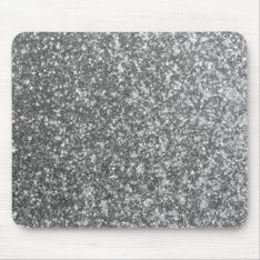 Faux Silver Glitter Glamour Girly Abstract Glam Mouse Pad at Zazzle