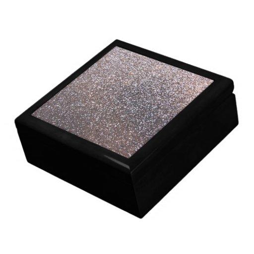 Faux Silver Glitter Graphic Keepsake Boxes Zazzle