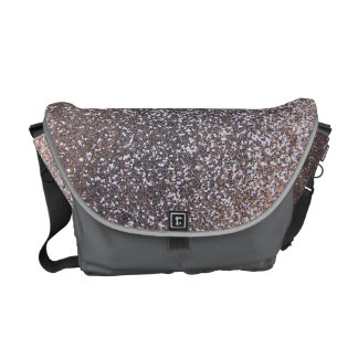 Faux Silver glitter graphic Messenger Bags