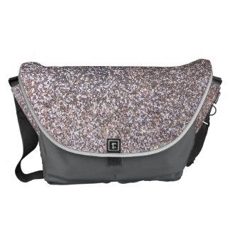Faux Silver glitter graphic Messenger Bag