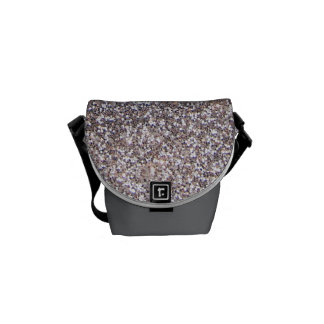 Faux Silver glitter graphic Courier Bags