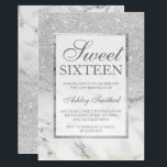 """Faux silver glitter marble elegant chic Sweet 16 Invitation<br><div class=""""desc"""">A modern,  pretty chic and elegant faux silver glitter shower ombre with white marble color block Sweet 16 birthday party invitation with white marble ombre pattern with and elegant silver frame Perfect for a princess Sweet sixteen,  perfect  for her,  the fashionista who loves modern pattern and glam</div>"""