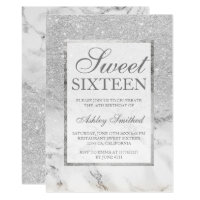 Faux silver glitter marble elegant chic Sweet 16 Invitation